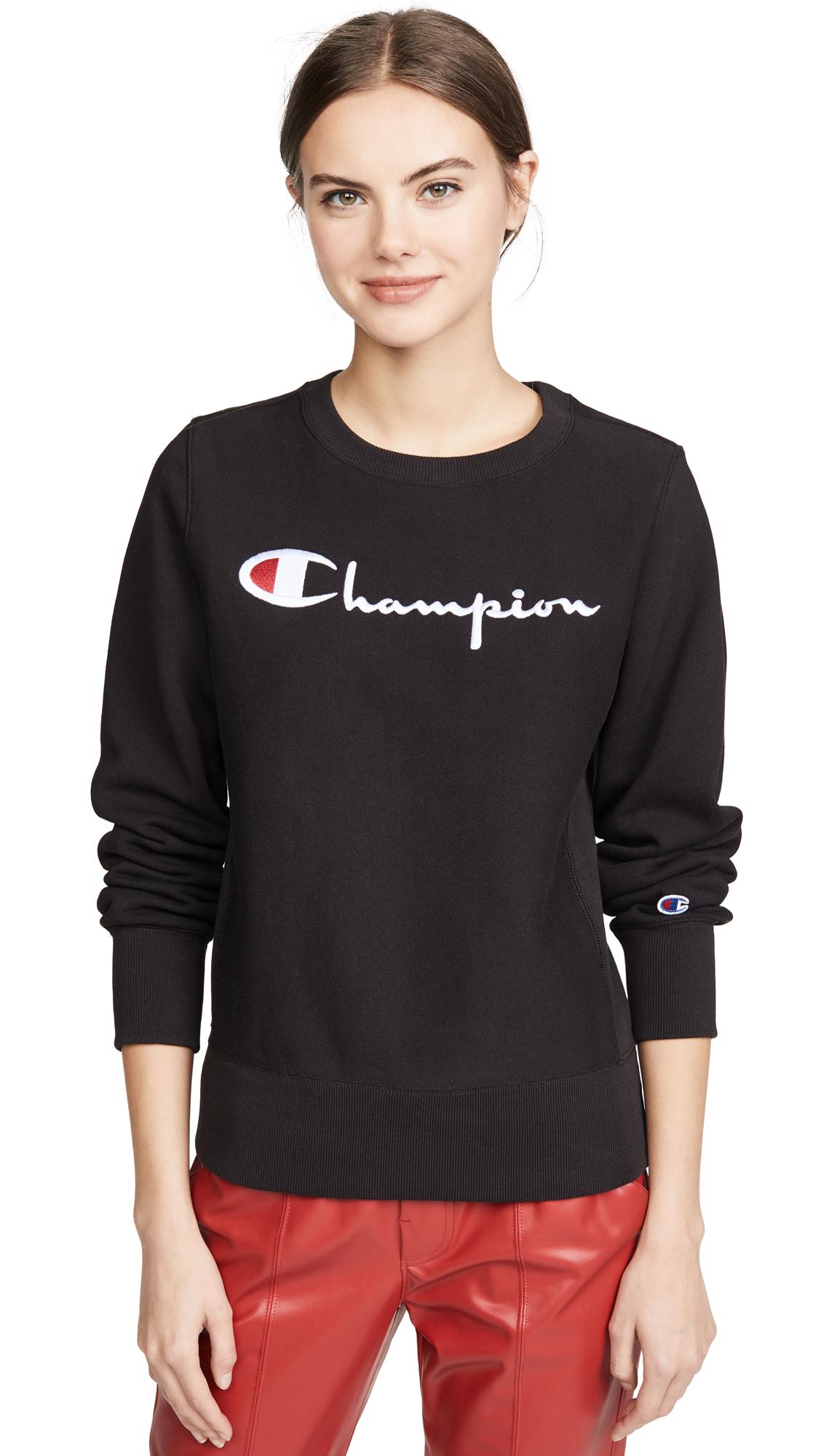 Champion Premium Reverse Weave Big Script Crew Neck Sweatshirt - 60% Off Sale