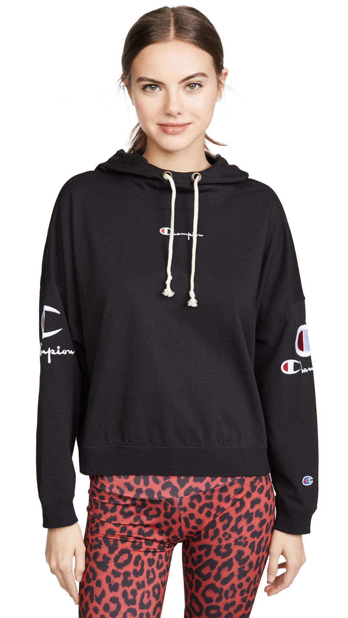 Champion Premium Reverse Weave Sleeve Logo Hooded Top – 30% Off Sale