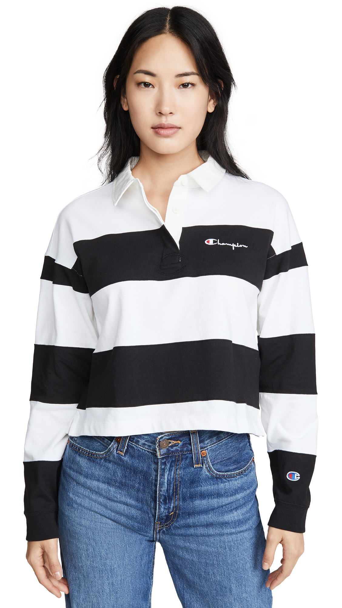 Buy Champion Premium Reverse Weave online - photo of Champion Premium Reverse Weave Small Script Striped Polo