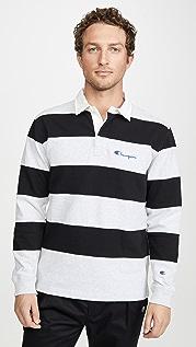 Champion Premium Reverse Weave Striped Long Sleeve Polo Shirt