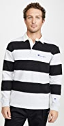Champion Premium Reverse Weave Striped Long Sleeve Polo Shirt
