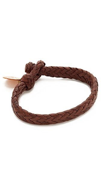 Chamula Wide Flat Woven Leather Bracelet