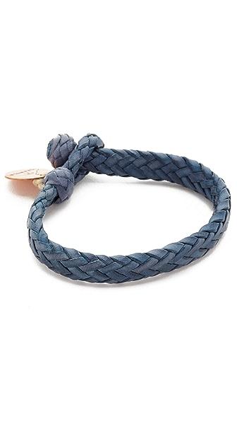 Chamula Wide Flat Woven Leather Bracelet