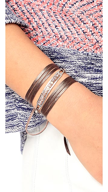 Chan Luu Raw Cut Leather Wrap Bracelet