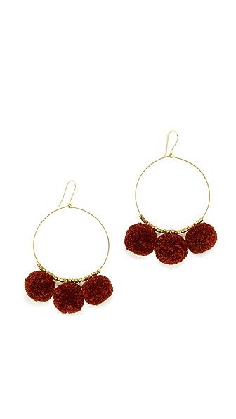 Chan Luu Pom Pom Hoop Earrings