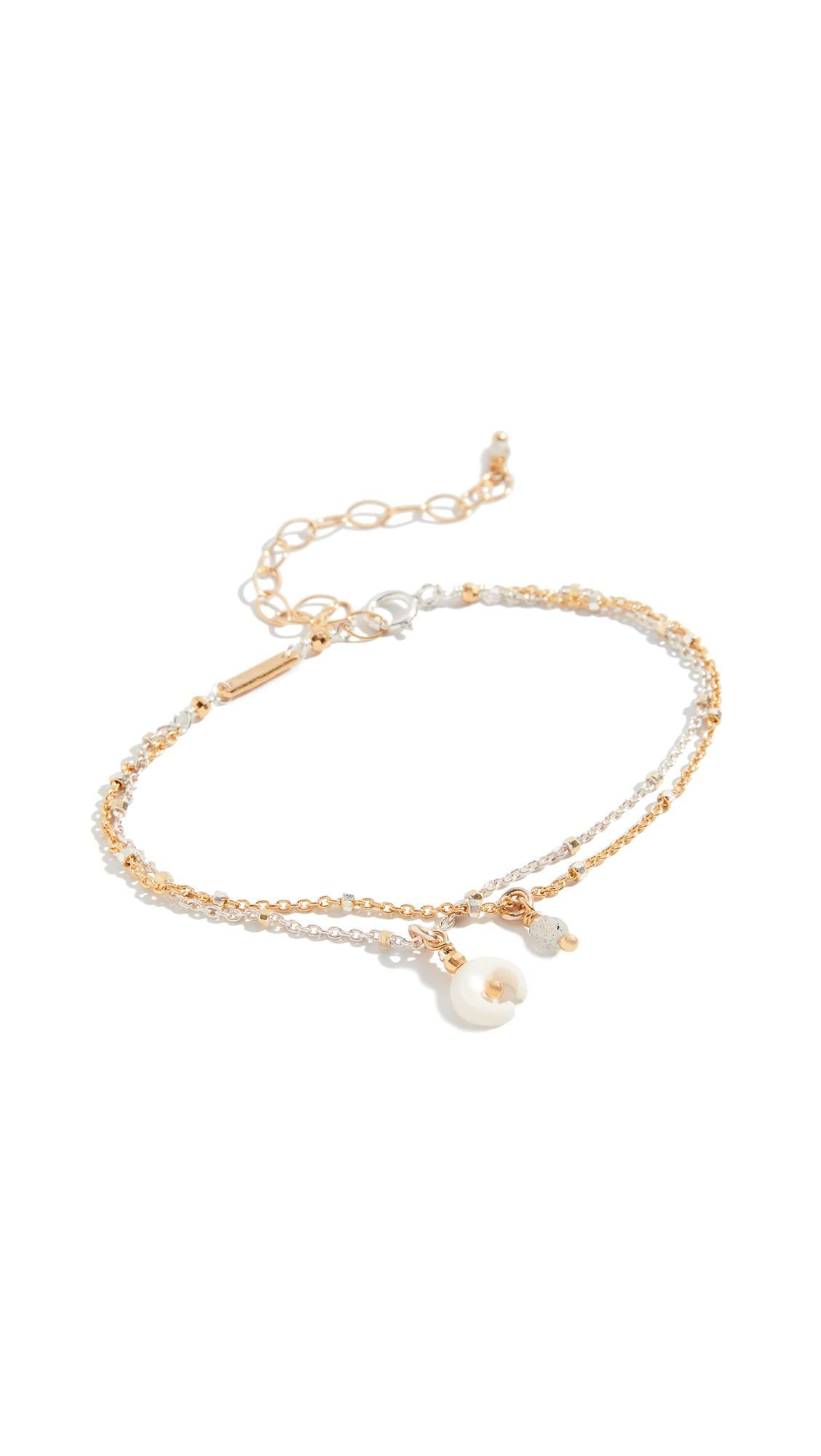 Chan Luu Mix Layered Horn Charm Bracelet In White Mix