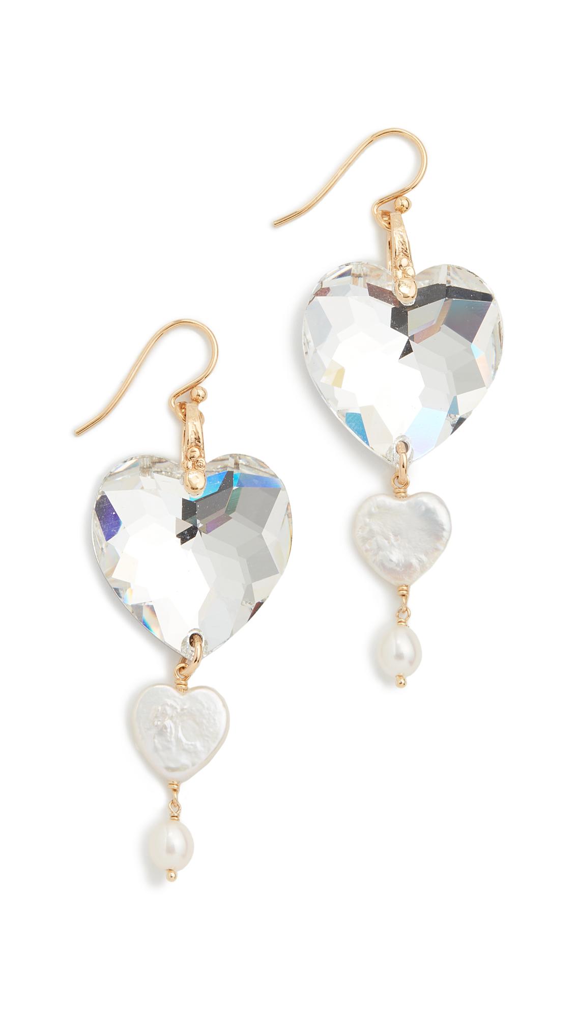 Chan Luu Crystal Heart Earrings