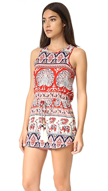 Chaser Tapestry Drawstring Mini Dress