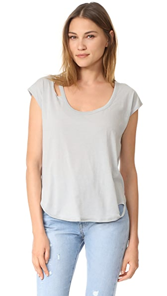 Chaser Deconstructed Scoop Neck Cap Sleeve Tee - Cool Grey