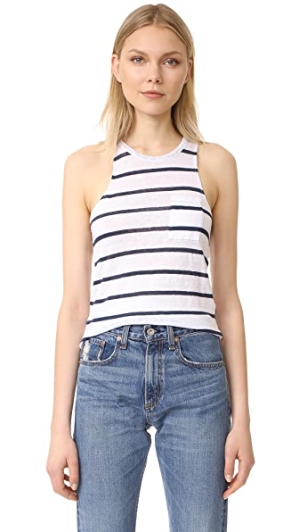 Chaser Pocket Shirttail Muscle Tank In Stripe