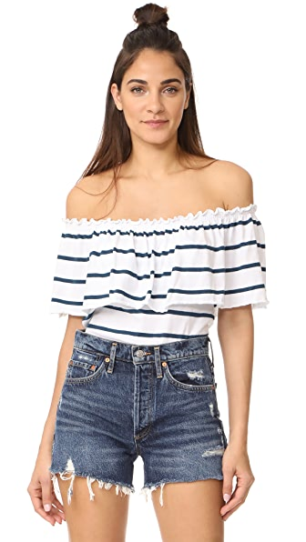 Chaser Off Shoulder Bardot Top - Parisian Stripe