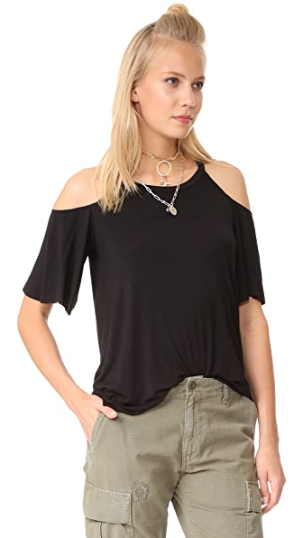 Chaser Cold Shoulder Flounce Sleeve Top - Black