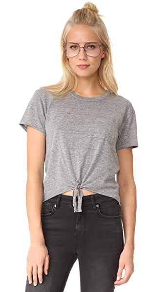 Chaser Tie Front Tee - Streaky Grey
