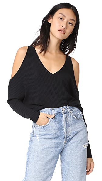 Chaser Cold Shoulder V Neck Top In Black