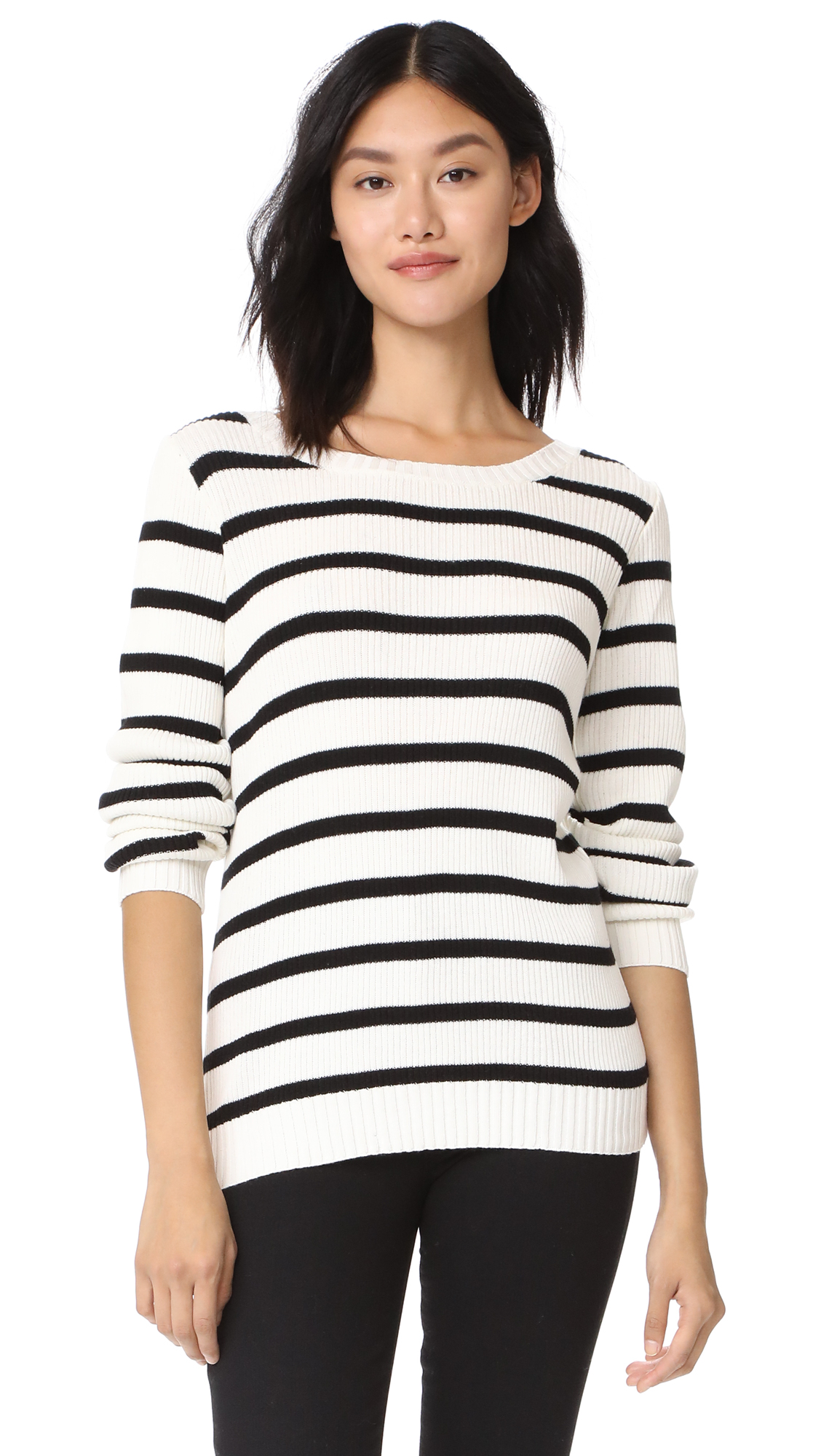 Chaser Long Sleeve V Back Pullover - Barcelona Stripe