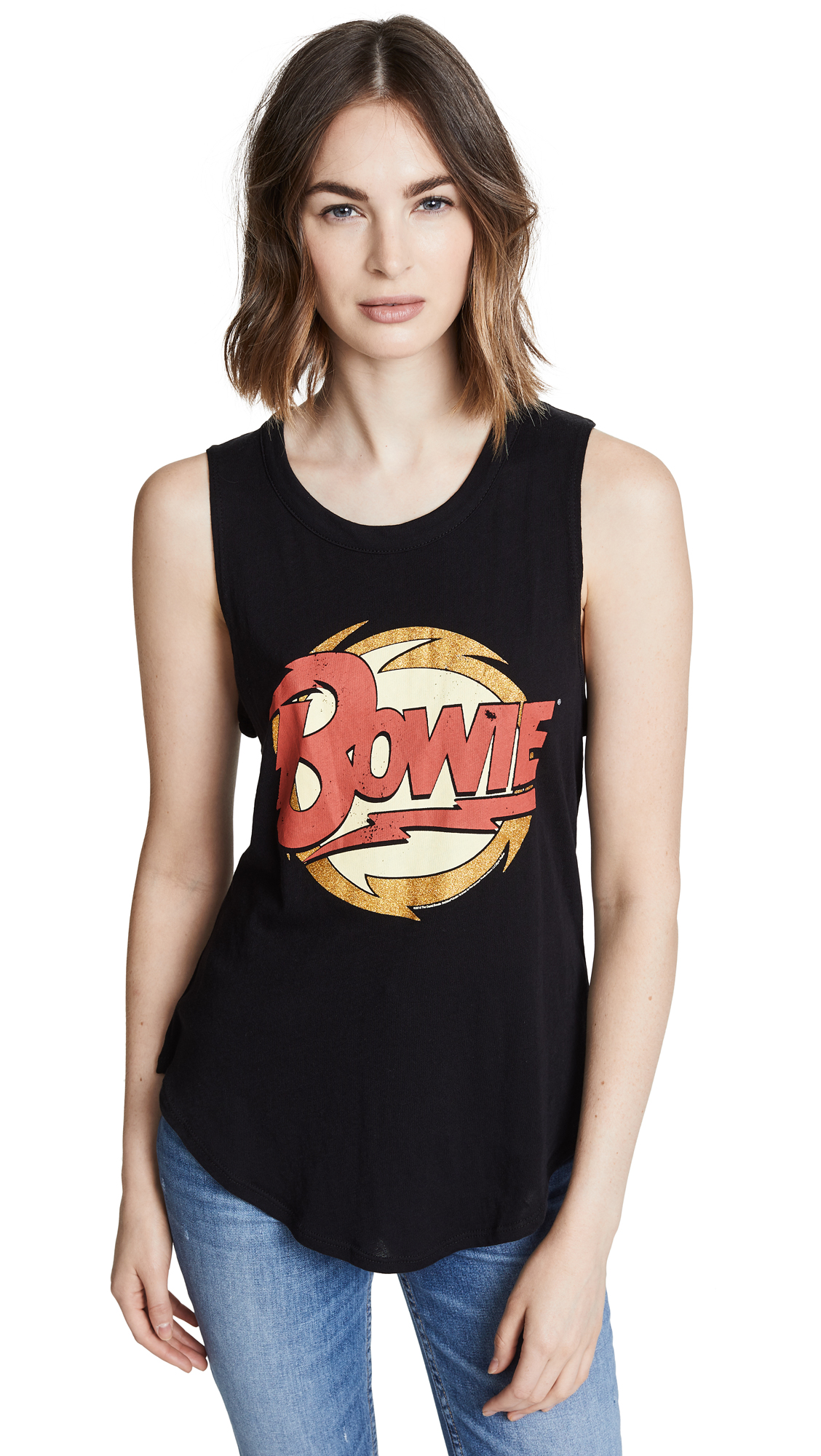 CHASER DAVID BOWIE GLITTER LIGHTNING TANK TOP