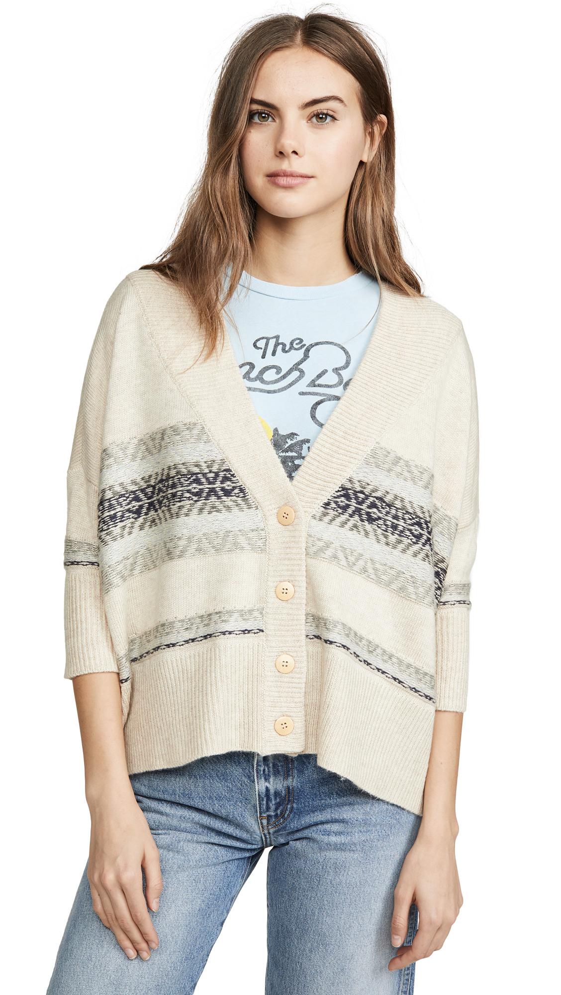Buy Chaser online - photo of Chaser Fair Isle Drop Shoulder Oversized Cardi