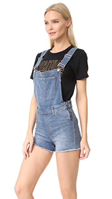 Cheap Monday Bib Spray Blue Noise Overalls