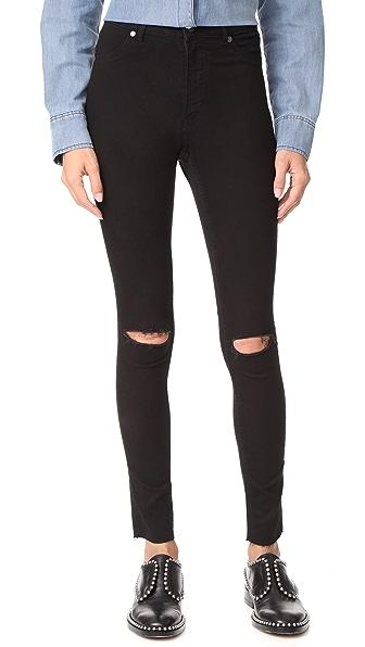 Cheap Monday High Spray Cut Black Jeans In Black