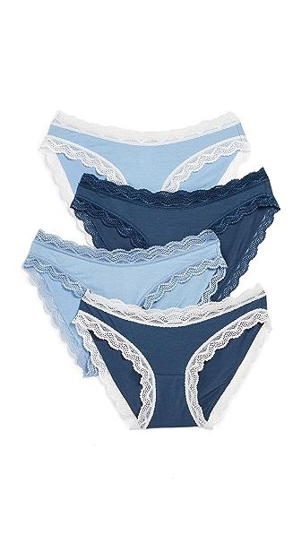 Cheek Frills Denim 4 Pack Panties In Denim