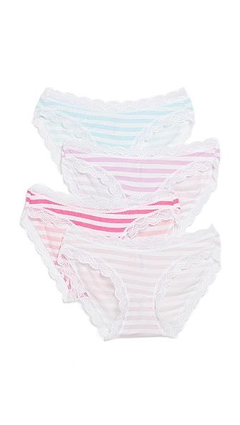 Cheek Frills Stripes 4 Pack Panties In Stripes