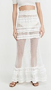 CHIO Maxi Macrame Fringed Skirt