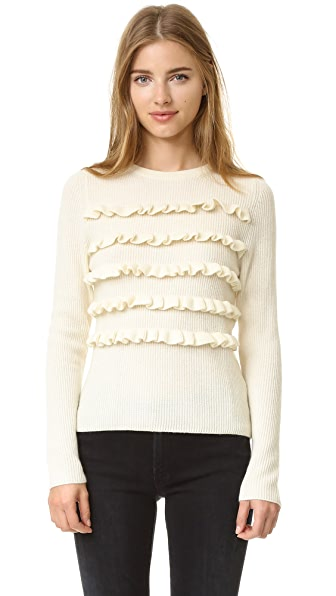 Chinti And Parker Ruffle Stripe Sweater - Cream