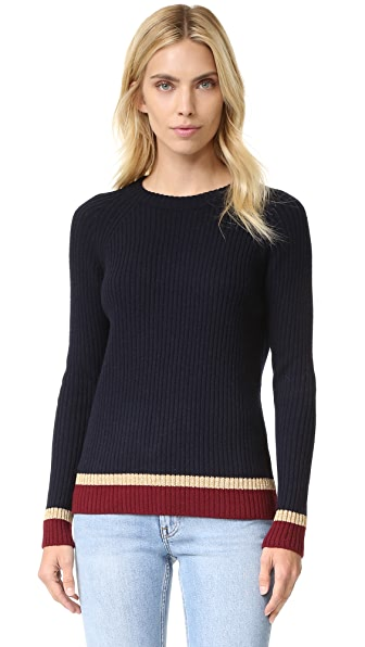 Chinti and Parker Rib Color Block Sweater - Navy/Bordeaux