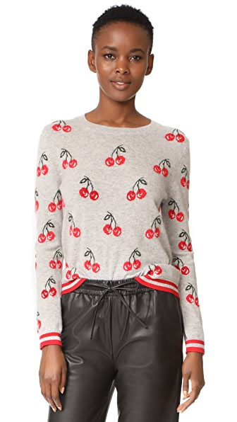 Chinti and Parker All Over Cherry Sweater - Silver Marl/Multi