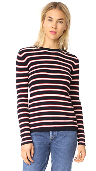 Chinti and Parker Breton Ribbed Sweater In Cherry/Navy/Cream