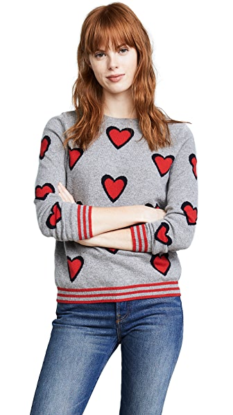 Chinti and Parker Allover Heart Burst Sweater In Grey/Navy/Cherry