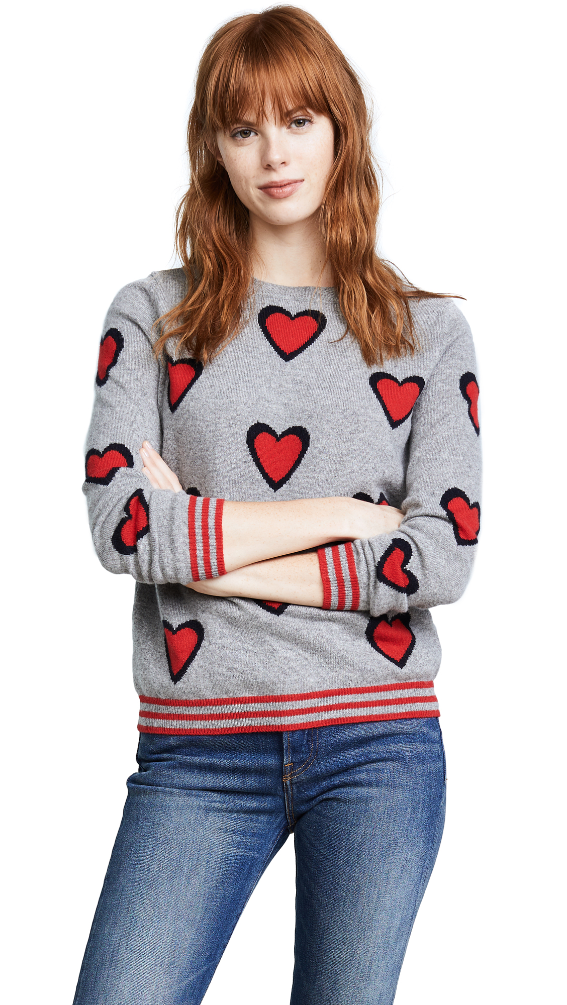 Chinti and Parker Allover Heart Burst Sweater - Grey/Navy/Cherry