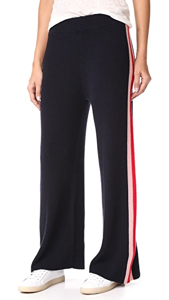 Chinti and Parker Mouline Intarsia Track Pants - Navy/Rose/Cherry
