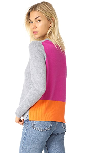 Chinti and Parker Ribbed Back Sweater - Grey/Fuchsia/Mandarin