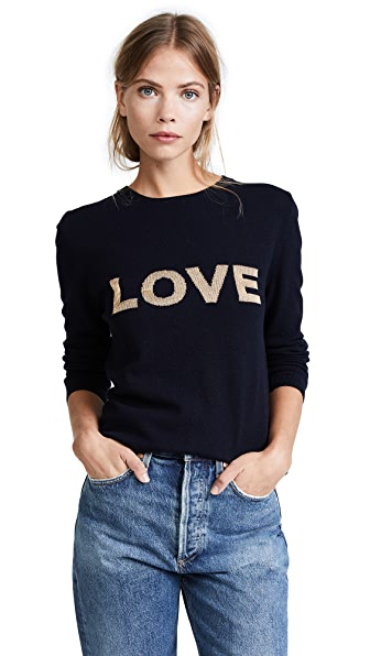 Chinti and Parker Shiny Love Sweater In Navy/Gold Lurex