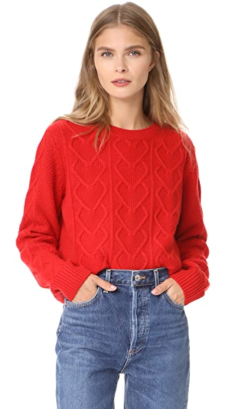 Chinti and Parker Heart Aran Sweater - Cherry