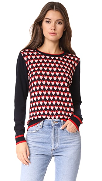 Chinti and Parker Heart Jacquard Sweater - Navy/Cherry/Blush