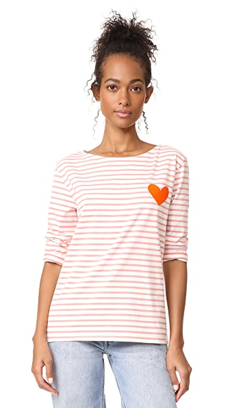 Chinti and Parker Stripe Heart Tee - Rose/Ivory
