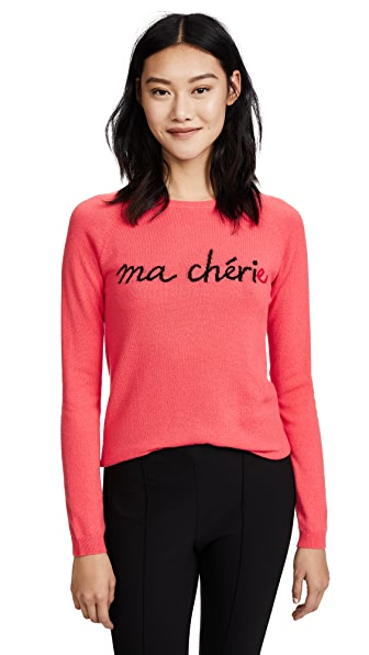 Chinti and Parker Ma Cherie Sweater In Coral/Black/Cherry