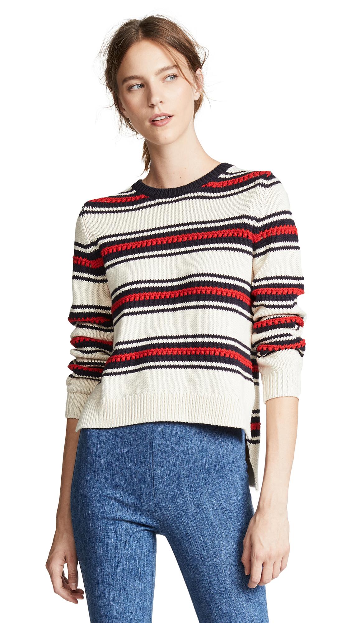 Chinti and Parker Lace Stitch Split Hem Sweater In Cream