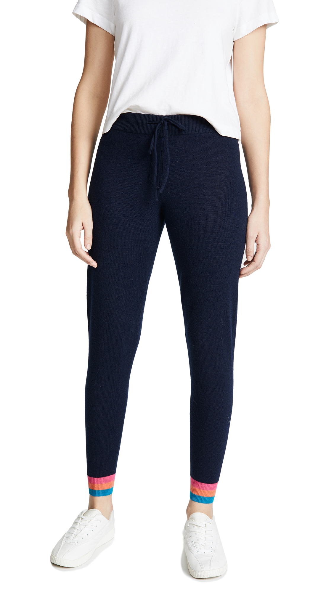 Chinti and Parker Stripe Cuff Cashmere Track Pants - Navy/Multi