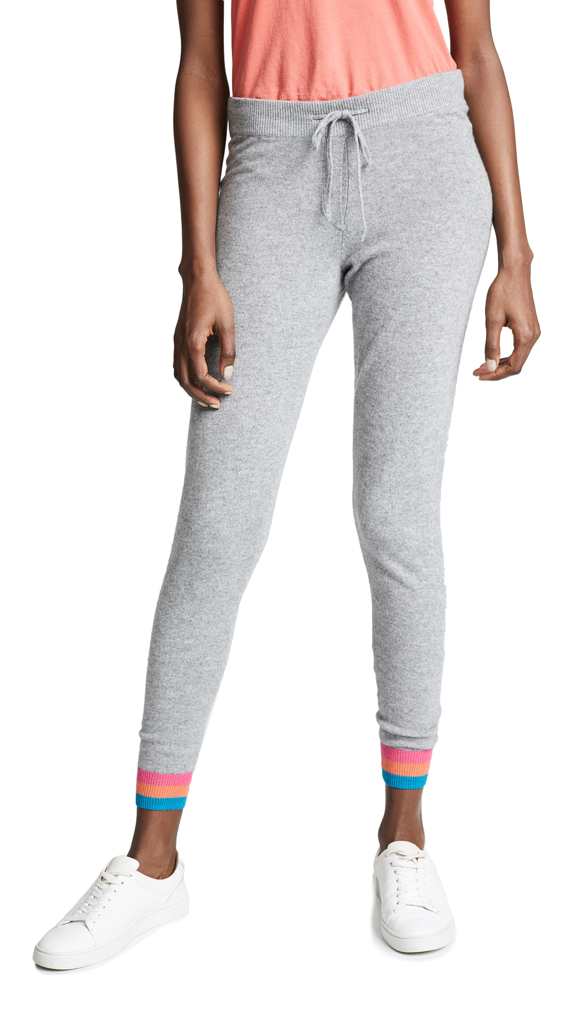 Chinti and Parker Stripe Cuff Track Pants - Light Grey Marl/Multi