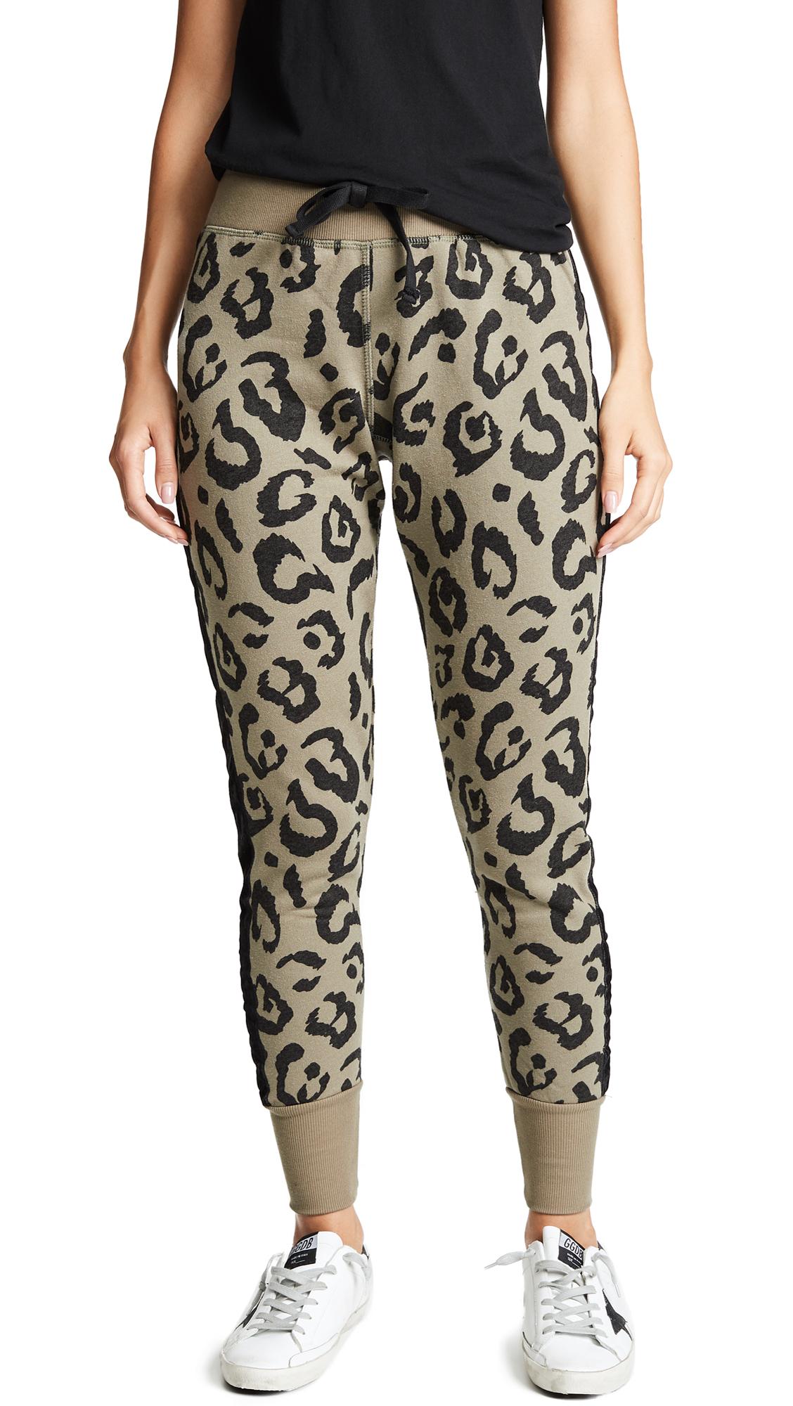 Buy CHRLDR online - photo of CHRLDR Big Leopard Velvet Stripe Sweatpants