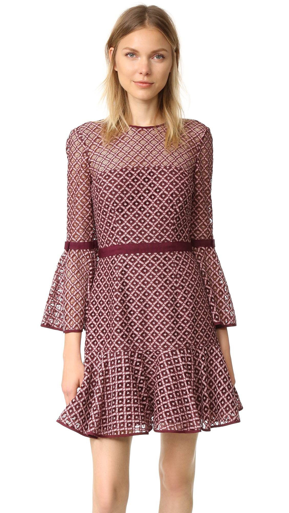 Cinq A Sept Cosette Lace Dress - Mulberry