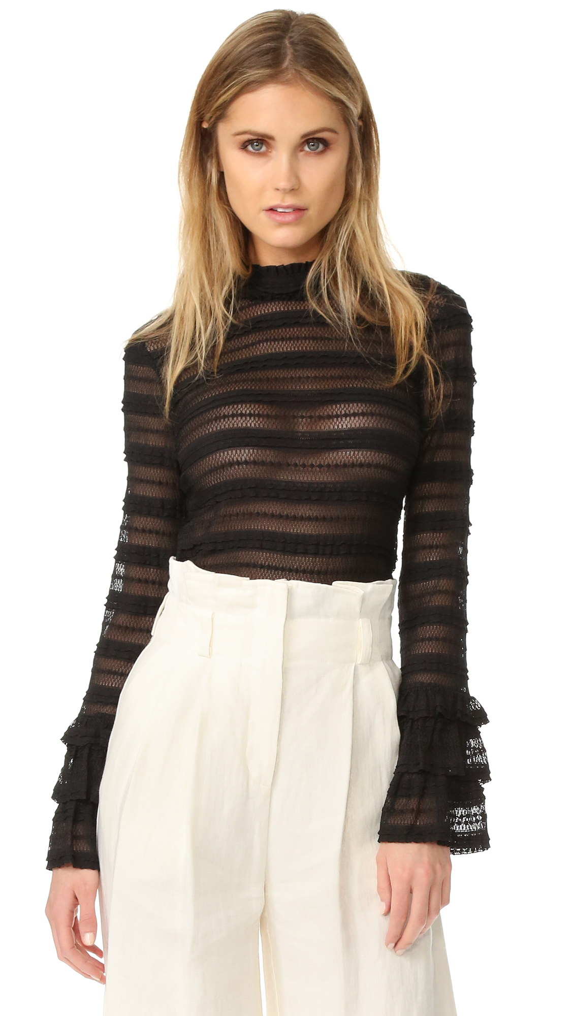 Tiered ruffles and shadow stripes lend dimension to this lace Cinq a Sept top. The formfitting piece is styled with a high neckline, and the long sleeves flare into ruffle cuffs. Hidden back zip. Semi sheer.