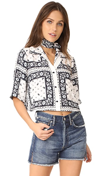 Cinq a Sept Cropped Dani Top - Navy/Ivory