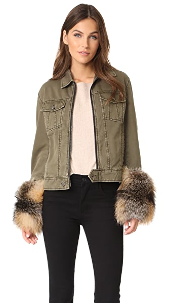 Cinq a Sept Ameerah Bomber with Removable Fur Cuffs - Olive/Smoke