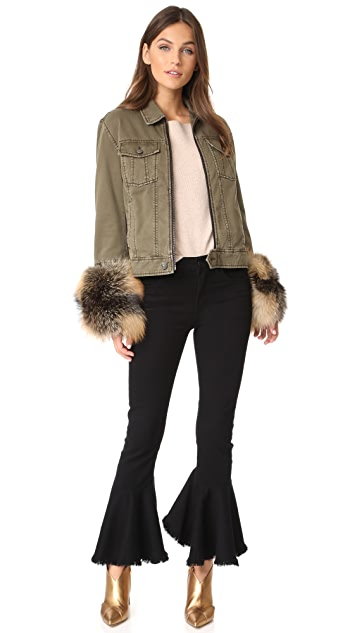 Cinq a Sept Ameerah Bomber with Removable Fur Cuffs