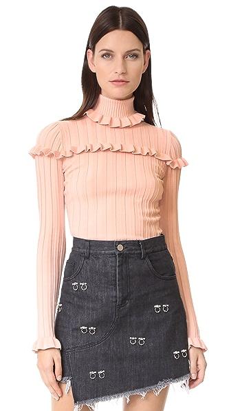 Cinq a Sept Tate Rib Sweater In Melon