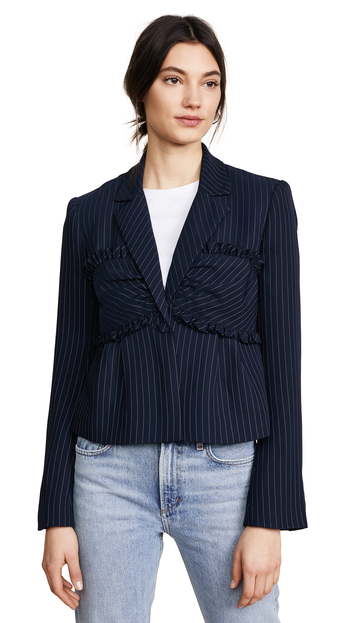 Cinq A Sept Pinstripe Fitted Bustier Blazer - Blue, Navy Multi